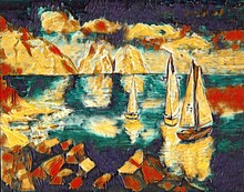 Boats In The Sea On A Background Of Mountains