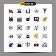 25 Creative Icons Modern Signs and Symbols of clothing, carnival, disaster, entertainment, sound