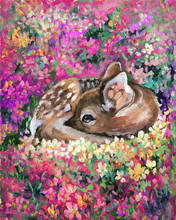Oil Painting Of Young Deer In Wild Landscape With Spring Or Summer Colorful Flowers. Baby Fawn Fawn Lies On A Blossoming Sunny Lawn. Hand Drawn Picture In Impressiomism Style.