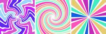 Set Of 3 Sunburst Spin 70s Retro Pastel Colors Abstract  Backgrounds Vintage  And Spiral Sunburst Background Vectors