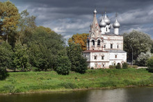 Ancient Church On The River Bank In Vologda