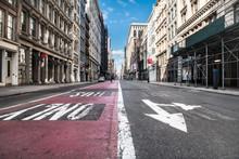 Empty Broadway Asphalt Street ...
