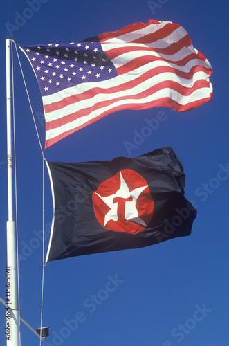 Obraz na plátne American Flag and Texaco Flag