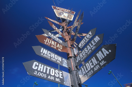 Miscellaneous distance signs in Anchorage, Alaska Wallpaper Mural