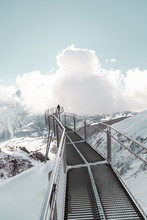 Epic Mountain Walkway And Clouds