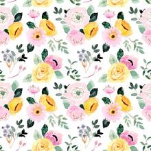 Beautiful Yellow Pink Floral Watercolor Seamless Pattern