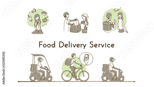 Valokuva Online food delivery service concept, online order tracking, delivery home and office