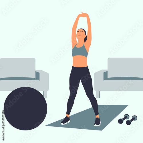 Photo chica joven haciendo ejercicios en casa, entrenamiento, motivación, mujer entren