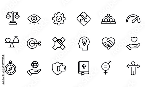 Cuadros en Lienzo Core Values Icons vector design black and white