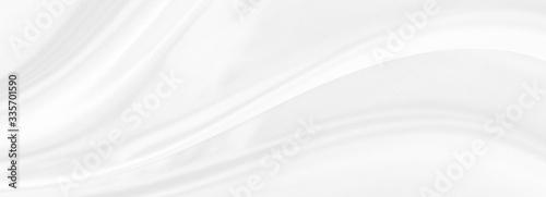 Fototapeta White gray satin texture that is white silver fabric silk panorama background with beautiful soft blur pattern natural. obraz na płótnie