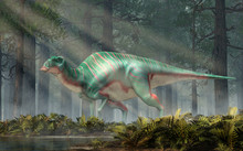 Maiasaura, A Hadrosaur, In A Rehistoric Forest. This Duck Billed Dinosaur, Now Extinct, Was An Herbivore That Lived During The Cretaceous Period. 3D Rendering.