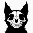 stylized Monochrome monster cat skull