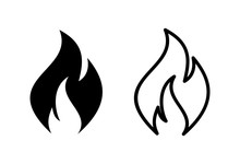 Fire Icons Set On White Backgr...