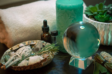 Crystal Ball Herbs In Abalone Shell With Dropper Bottle & Crystals Turquoise Aqua Candle Green White Spa Tranquil Ritual Wicca Scene Altar
