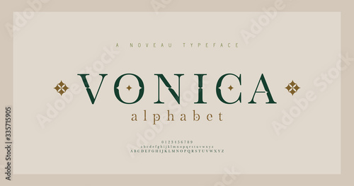 Obraz Elegant alphabet letters serif font and number. Classic Lettering Minimal Fashion. Typography fonts regular uppercase, lowercase and numbers. vector illustration - fototapety do salonu
