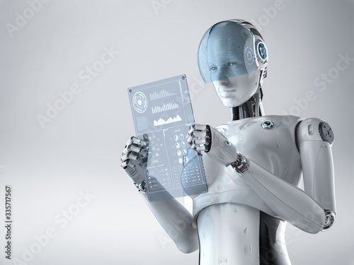Fototapeta Cyborg with glass tablet