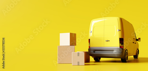 Obraz na płótnie Delivery vans with paper boxes on yellow background. 3d rendering