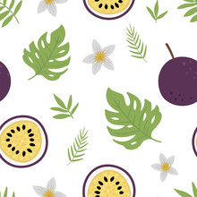 Vector Passion Fruit Seamless Pattern. Jungle Fruit Repeat Background. Hand Drawn Flat Exotic Texture D. Bright Childish Healthy Tropical Summer Food Digital Paper..