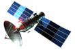 Space satellite with dish antenna and solar panels Isolated on a white background. Telecommunications, high-speed Internet, sounding, space exploration. 3D render, 3D illustration, copy space.