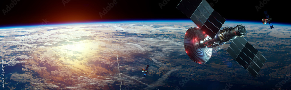 Fototapeta Space satellite with antenna and solar panels in space against the background of the earth. Telecommunications, high-speed Internet, space exploration. copy space. image furnished by NASA
