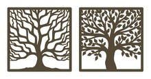 Two Trees In A Square Frame, With And Without Leaves. Brown Trunk, Branches. Design Element, Sample Panel For Plotter Cutting. Template For Paper Cut, Plywood, Cardboard, Metal Engraving, Wood Carving