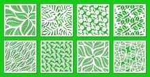Set Of Square Frames With A Floral Pattern Of Leaves, Flowers, Twigs. Design Element, Sample Panel For Plotter Cutting. Template For Paper Cut, Plywood, Cardboard, Metal Engraving, Wood Carving, Print