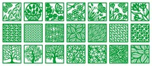 Set Of Vector Square Panels With Plants, Flowers, Trees, Insects, Butterflies, Dragonflies. Design Element, Sample Frame For Plotter Cutting, Handmade. Template For Paper Cut, Engraving, Wood Carving.