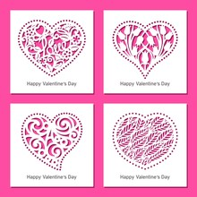 Set Of Decorative Greeting Vector Cards With Hearts, Flowers, Patterns. Design Element, Sample For Plotter Cutting, Handmade. Template For Paper Cut, Plywood, Cardboard, Metal Engraved, Wood Carved.