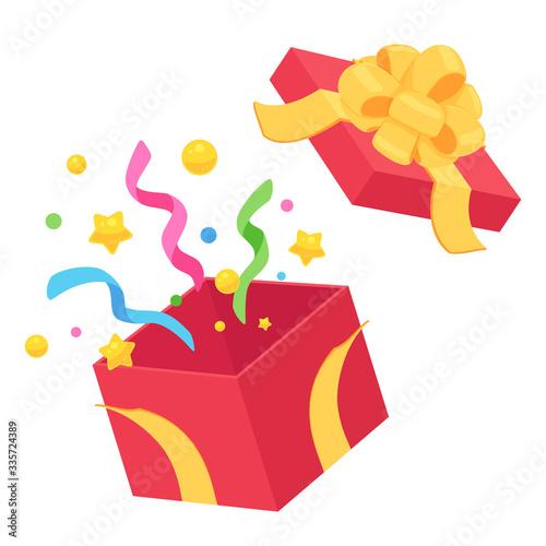 Fotografía プレゼントの開いた箱_赤_黄色_フラワーリボン