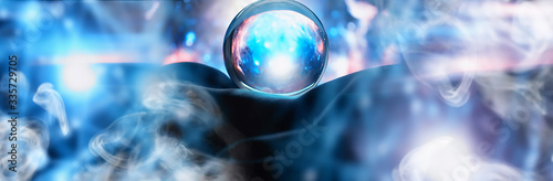 Obraz Astrological background. Crystal ball with predictions. Horoscope of the stars. Fortune telling and determination of fate. Soothsayer with a crystal ball. - fototapety do salonu