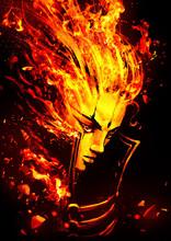 Fiery Girl Drawn In Anime Styl...