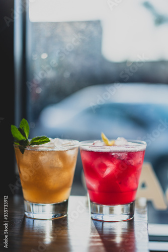 colorful cocktails in a window