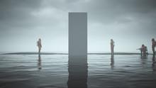 Mysterious Black Obelisk Floating On Black Sand Surrounded By Water And Men In Hazmat Suits 3d Illustration 3d Render