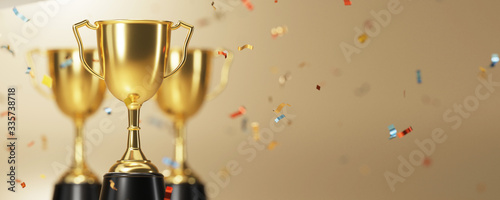 golden trophy award with falling confetti on gold background Fototapeta