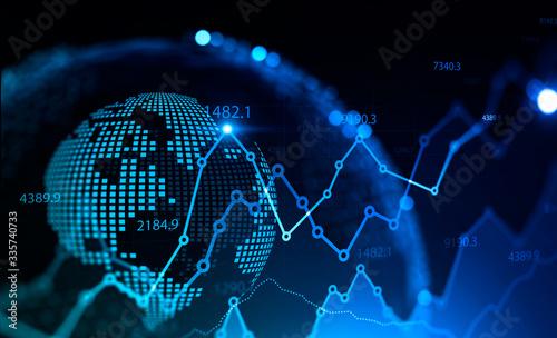 Fototapeta Financial graph and planet hologram background obraz