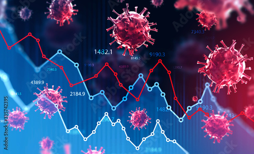 Obraz Coronavirus and financial stock market crisis - fototapety do salonu