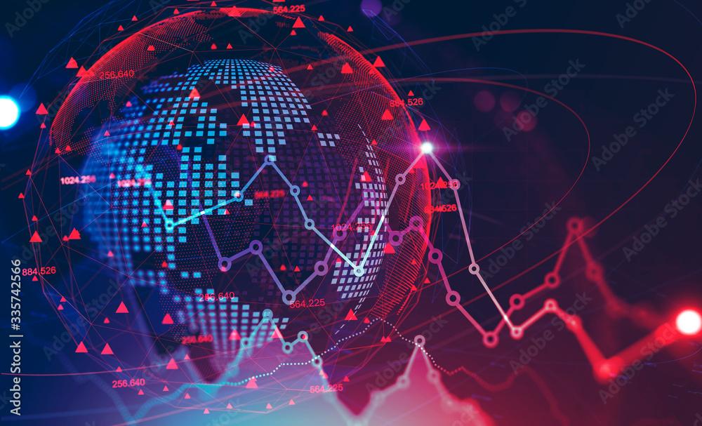 Fototapeta Global financial crisis concept, stock market