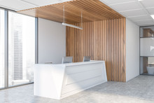 Reception Desk In White And Wooden Office Corner