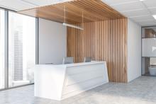Reception Desk In White And Wo...