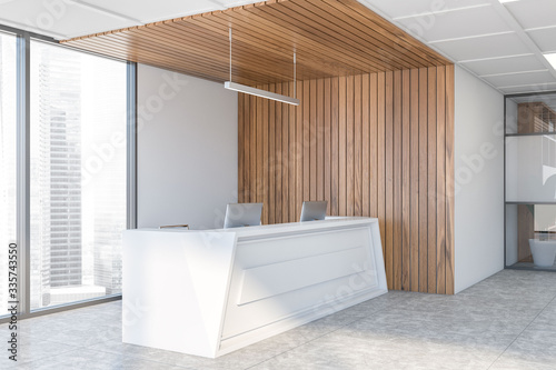 Fotomural Reception desk in white and wooden office corner