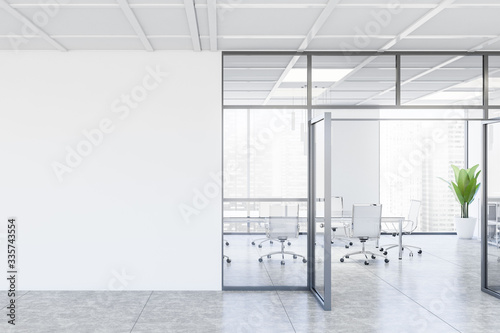 Obraz White conference room interior with mock up wall - fototapety do salonu