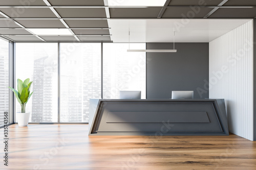 Obraz Reception desk in white and gray office - fototapety do salonu