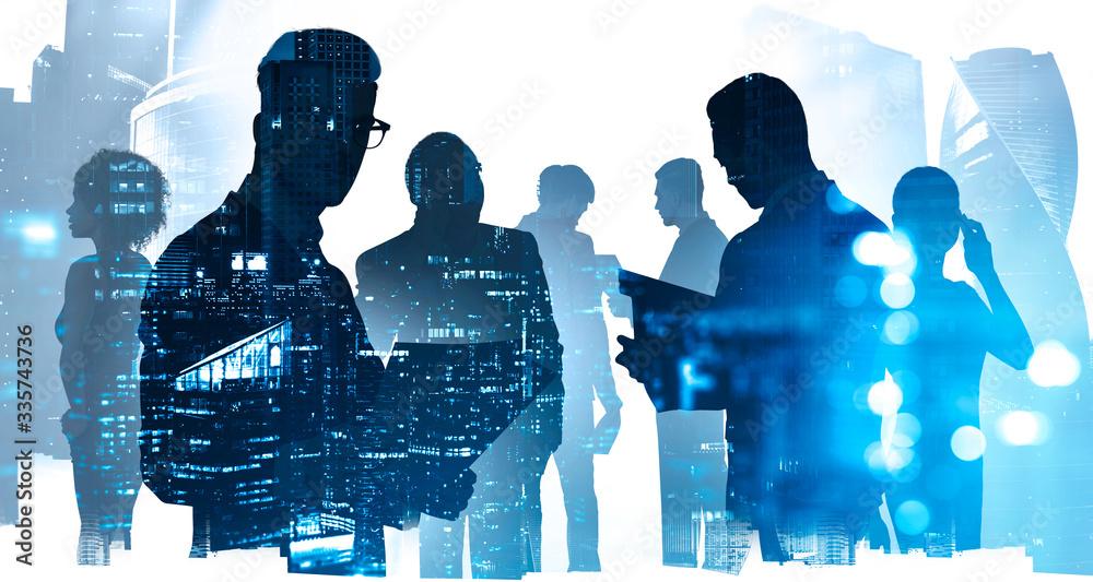 Fototapeta Diverse business people in city, teamwork