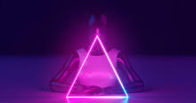 3D Rendering. A Mannequin Girl Of Dark Glossy Material, Dressed In Bright Glossy Clothes, Behind A Luminous Neon Triangle, On A Flat Surface. On A Dark Blue Background.