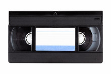 Old Black Vintage Vhs Cassette Tape Front With A Blank Paper Label, Front Side, Top View Isolated On White, Cut Out 80s, 90s Retro Media Aesthetic, Magnetic Videotape Movie Storage Concept Studio Shot
