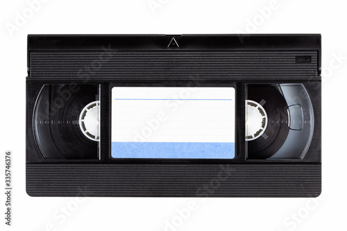 Photographie Old black vintage vhs cassette tape front with a blank paper label, front side,