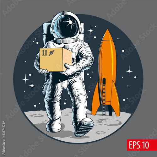 Fotografia Delivery service, astronaut holding package or cardboard box