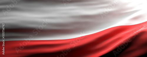 Poland national flag waving texture background. 3d illustration