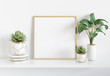 Leinwanddruck Bild - Frame leaning on white shelve in bright interior with plants and decorations mockup 3D rendering