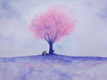 Watercolor Woman Waiting Someo...